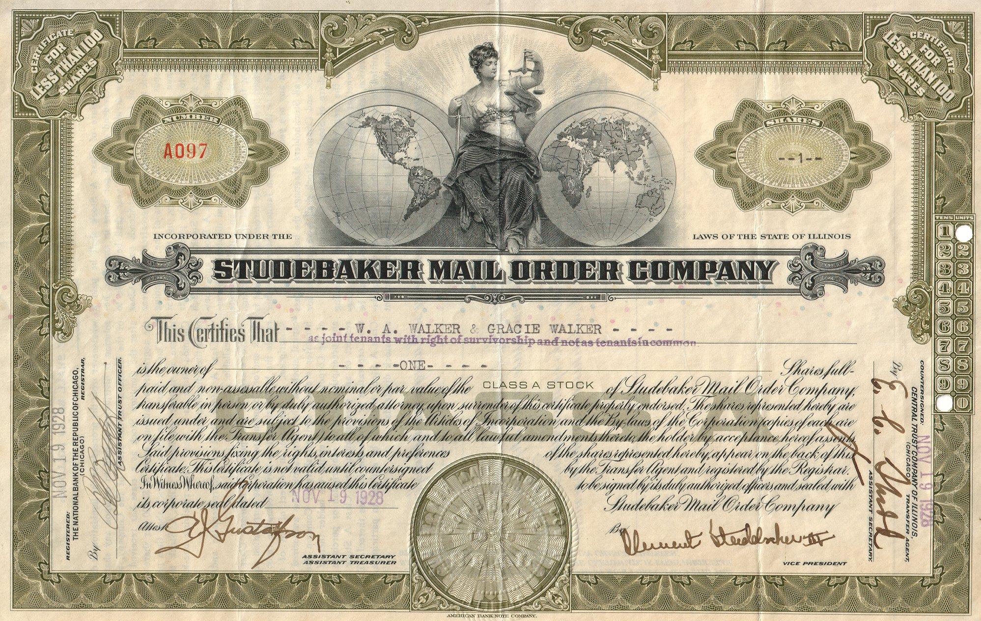 Studebaker Stock Certificate